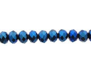 blue metallic crystal rondelle beads