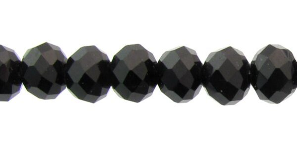 black crystal rondelle beads