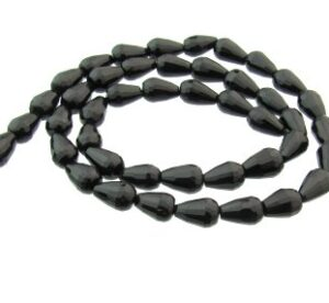 black onyx faceted drop beads