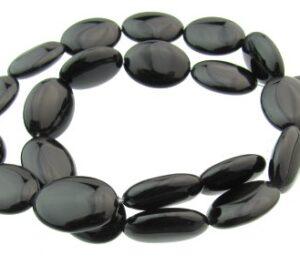 black onyx oval gemstone beads