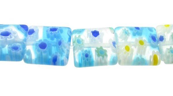 blue square millefiori glass beads