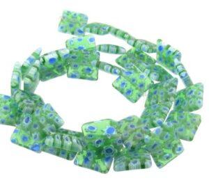 green square millefiori glass beads
