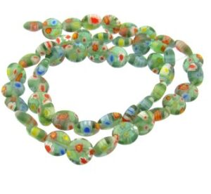 green disc millefiori glass beads australia