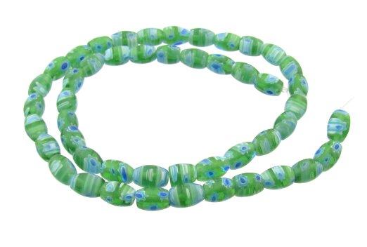 green rice millefiori glass beads