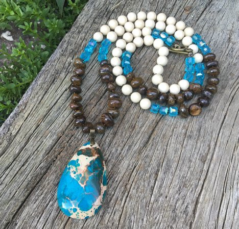 impression jasper gemstone beads necklace tutorial