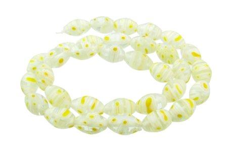 light yellow rice millefiori glass beads