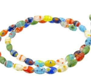 mixed colours rice millefiori glass beads