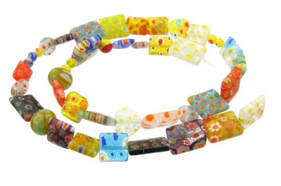 mixed millefiori glass beads