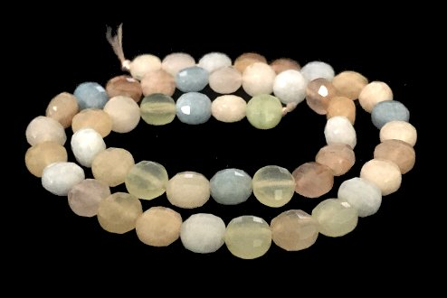 morganite faceted coin beads