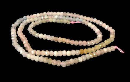 morganite faceted rondelle gemstone beads