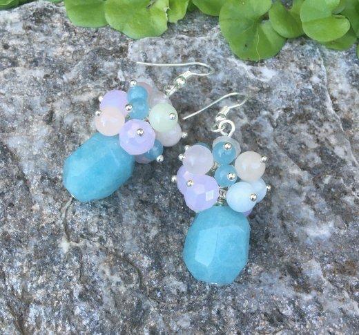 pastel gemstone cluster bead earring tutorial