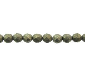 pyrite faceted round gemstone beads 6mm