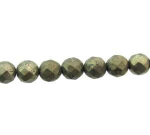 pyrite faceted gemstone round beads 8mm
