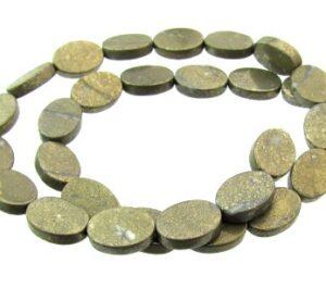 pyrite flat oval gemstone beads