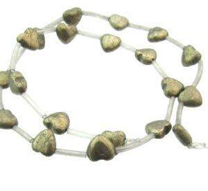 pyrite heart gemstone beads