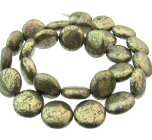 pyrite disc gemstone beads
