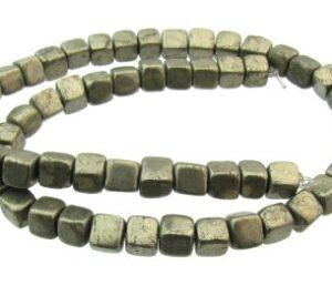 pyrite rounded cube gemstone beads