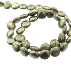 pyrite small disc gemstone beads