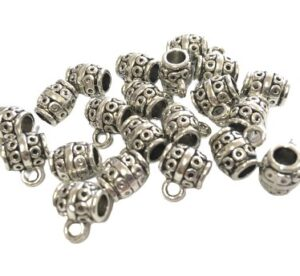 silver barrel bail beads with loop
