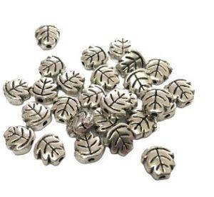 small silver leaf bead