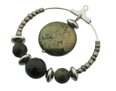 Pyrite and obsidian earring tutorial