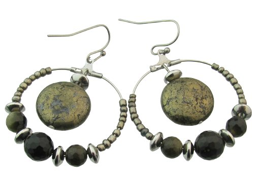 finished pyrite and obsidian beads hoop earrings