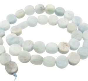 aquamarine gemstone beads coin shape