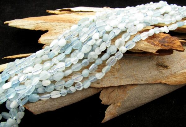 aquamarine small nugget gemstone beads