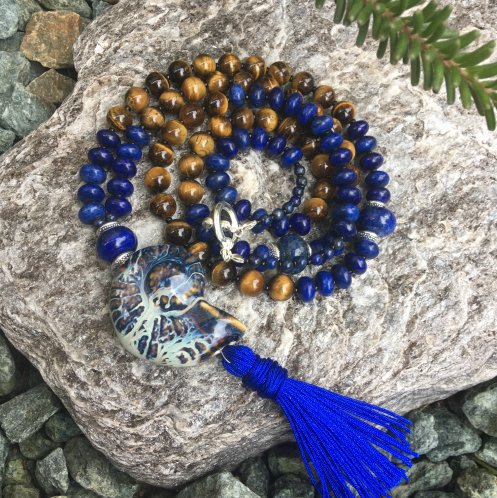 lapis lazuli and tiger eye tassel necklace tutorial