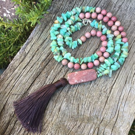 amazonite chip beads and rhodonite necklace