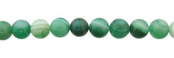 green banded agate 12mm round beads
