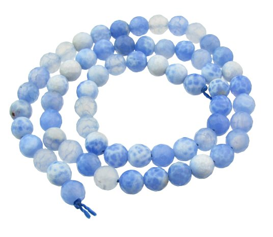 blue crackled agate 6mm round beads
