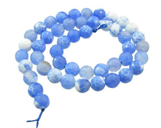 agate faceted 8mm crackled blue