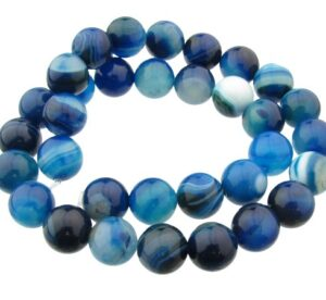 banded blue agate gemstone round beads 12mm